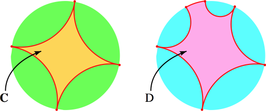 Convex hulls of sets of ideal points of the poincare disk